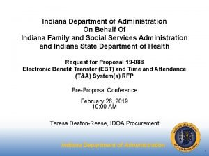 Indiana Department of Administration On Behalf Of Indiana
