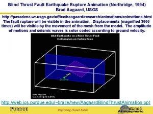 Blind Thrust Fault Earthquake Rupture Animation Northridge 1994