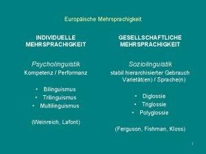 Europische Mehrsprachigkeit INDIVIDUELLE MEHRSPRACHIGKEIT GESELLSCHAFTLICHE MEHRSPRACHIGKEIT Psycholinguistik Soziolinguistik