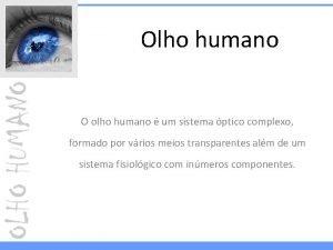 Olho humano O olho humano um sistema ptico