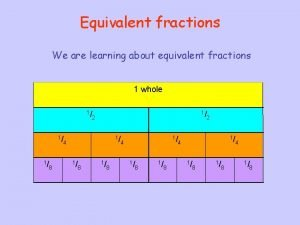 Equivalent fractions We are learning about equivalent fractions