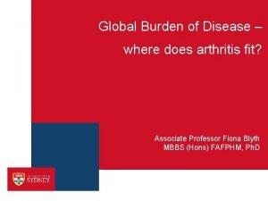 Global Burden of Disease where does arthritis fit