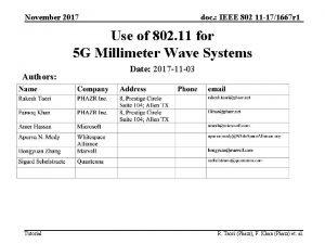 November 2017 doc IEEE 802 11 171667 r