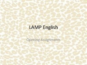 LAMP English Opening Assignments Making Inferences Always title