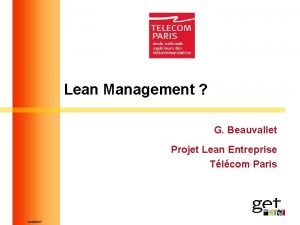 Lean Management G Beauvallet Projet Lean Entreprise Tlcom