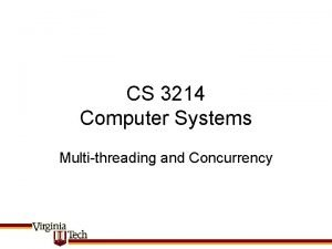 CS 3214 Computer Systems Multithreading and Concurrency MULTITHREADING