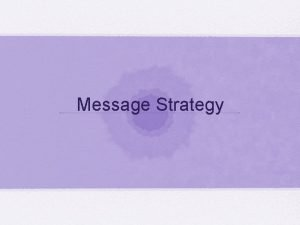 Message Strategy Message strategy Focused on the content