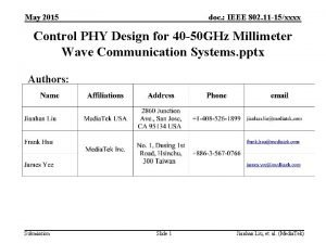 May 2015 doc IEEE 802 11 15xxxx Control