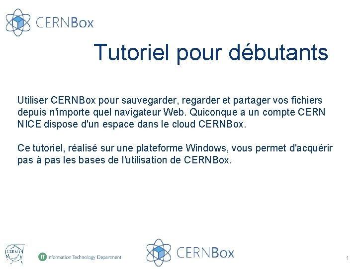 Tutoriel pour dbutants Utiliser CERNBox pour sauvegarder regarder