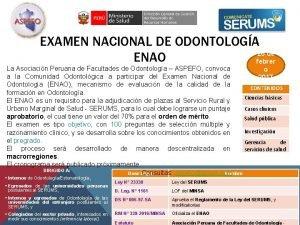 EXAMEN NACIONAL DE ODONTOLOGA 26 de ENAO febrer
