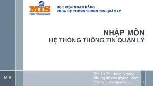 NHP MN H THNG THNG TIN QUN L