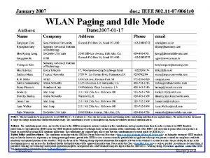 January 2007 doc IEEE 802 11 070061 r