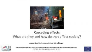 Cascading effects What are they and how do