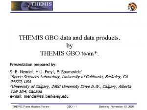 THEMIS GBO data and data products by THEMIS