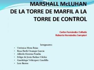 MARSHALL Mc LUHAN DE LA TORRE DE MARFIL