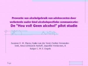 Preventie van alcoholgebruik van adolescenten door verbeterde ouderkind