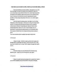 METODE JALUR KRITIS CPM CRITICAL PATH METHOD PERT