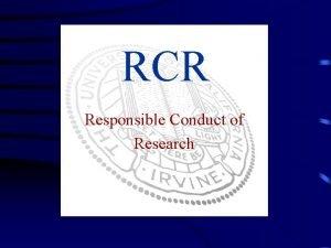 RCR Responsible Conduct of Research Presentation Material Credit