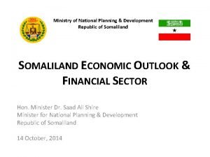 Ministry of National Planning Development Republic of Somaliland