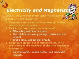 Electricity and Magnetism SPS 10 Students will investigate