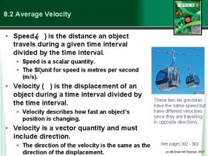 8 2 Average Velocity Speed is the distance