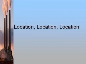 Location Location Site vs Situation Situation factors involve