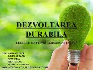 DEZVOLTAREA DURABILA COLEGIUL NAIONAL GHEORGHE LAZR ELEVI ELEVI