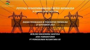 PT Perkebunan Nusantara XII POTENSI PENGEMBANGAN ENERGI BIOMASSA