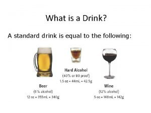 What is a Drink A standard drink is