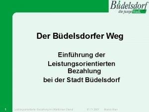 Der Bdelsdorfer Weg Einfhrung der Leistungsorientierten Bezahlung bei