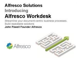 Alfresco Solutions Introducing Alfresco Workdesk Streamline your documentcentric