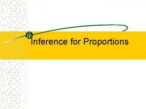 Inference for Proportions Proportions Our earlier analysis focused
