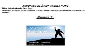 ATIVIDADES DE LNGUA INGLESA 7 ANO Objeto de