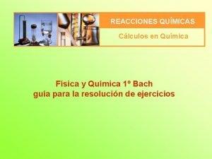 REACCIONES QUMICAS Clculos en Qumica Fsica y Qumica