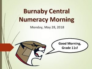 Burnaby Central Numeracy Morning Monday May 28 2018