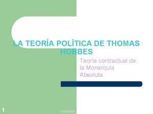 LA TEORA POLTICA DE THOMAS HOBBES Teora contractual