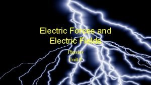 Electric Forces and Electric Fields Physics Unit 8
