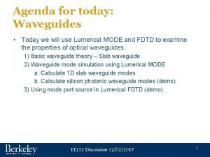 Agenda for today Waveguides Today we will use