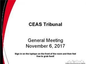 CEAS Tribunal General Meeting November 6 2017 Sign