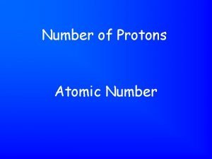 Number of Protons Atomic Number Number of Protons