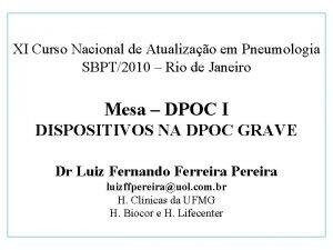 XI Curso Nacional de Atualizao em Pneumologia SBPT2010
