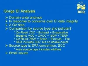 Gorge EI Analysis Domainwide analysis In response to