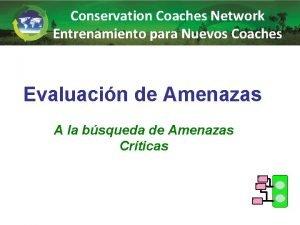 Conservation Coaches Network Entrenamiento para Nuevos Coaches Evaluacin