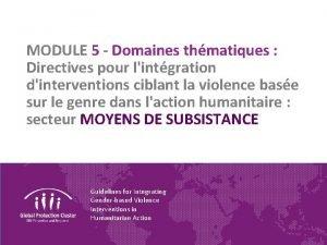 MODULE 5 Domaines thmatiques Directives pour lintgration dinterventions