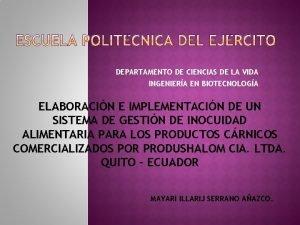 DEPARTAMENTO DE CIENCIAS DE LA VIDA INGENIERA EN
