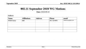 September 2018 doc IEEE 802 11 181395 r