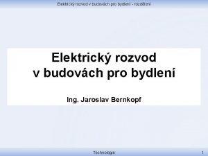 Elektrick rozvod v budovch pro bydlen rozdlen Elektrick