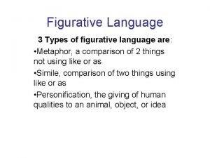 Figurative Language 3 Types of figurative language are