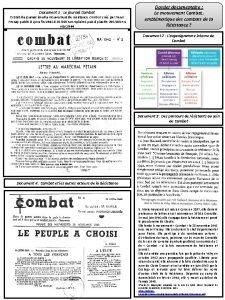 Document 1 Le journal Combat Extrait du journal