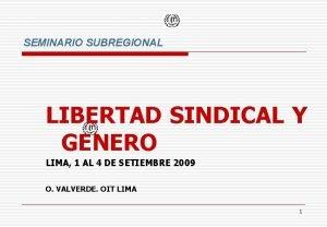 SEMINARIO SUBREGIONAL LIBERTAD SINDICAL Y GENERO LIMA 1